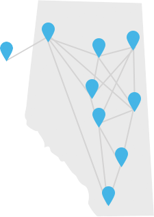 Location Markers On A Map of Alberta